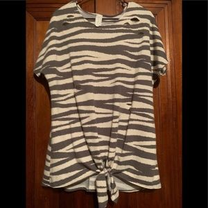 Zebra print distressed top